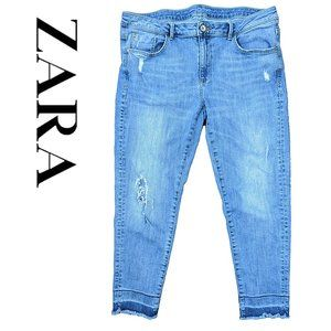Zara basic z1975 distressed cropped jeans raw hem